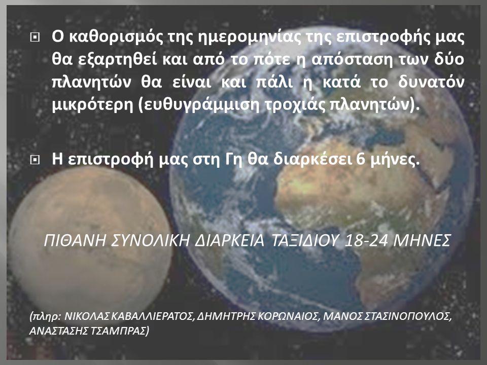  Ο καθορισμός της ημερομηνίας της επιστροφής μας θα εξαρτηθεί και από το πότε η απόσταση των δύο πλανητών θα είναι και πάλι η κατά το δυνατόν μικρότε