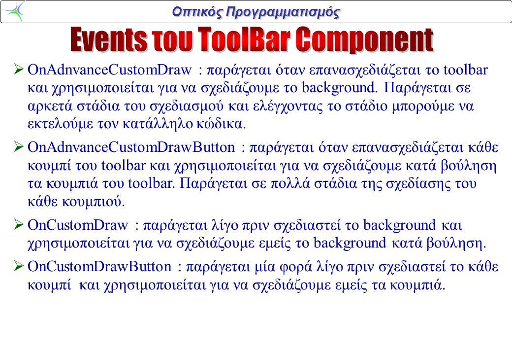 Οπτικός Προγραμματισμός  OnAdnvanceCustomDraw : παράγεται όταν επανασχεδιάζεται το toolbar και χρησιμοποιείται για να σχεδιάζουμε το background.