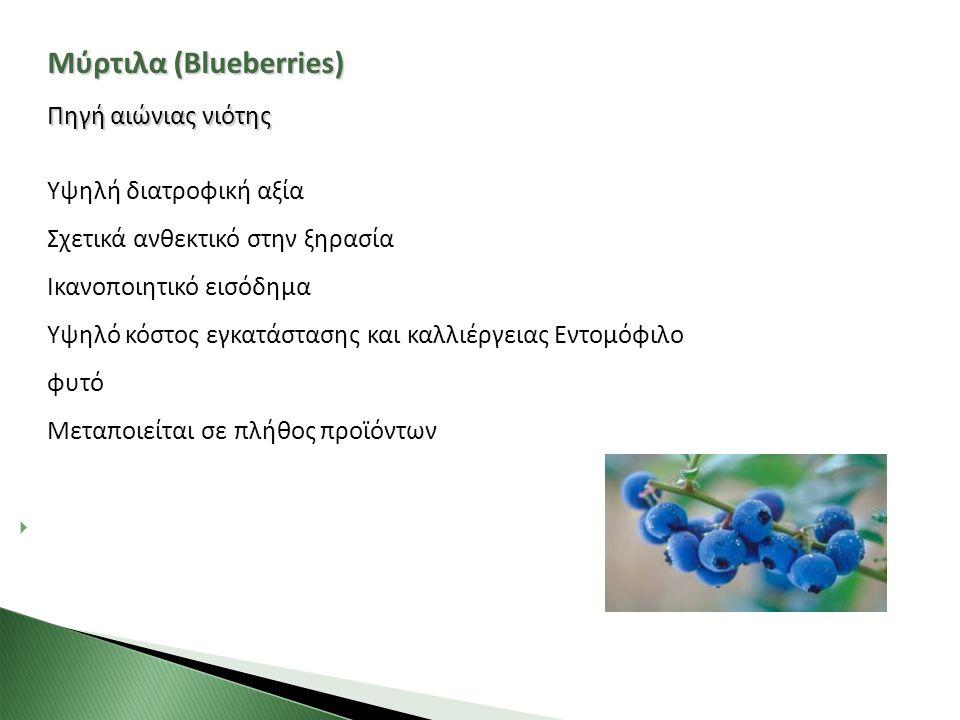 Μύρτιλα (Blueberries) Πηγή αιώνιας νιότης Υψηλή διατροφική αξία Σχετικά ανθεκτικό στην ξηρασία Ικανοποιητικό εισόδημα Υψηλό κόστος εγκατάστασης και κα