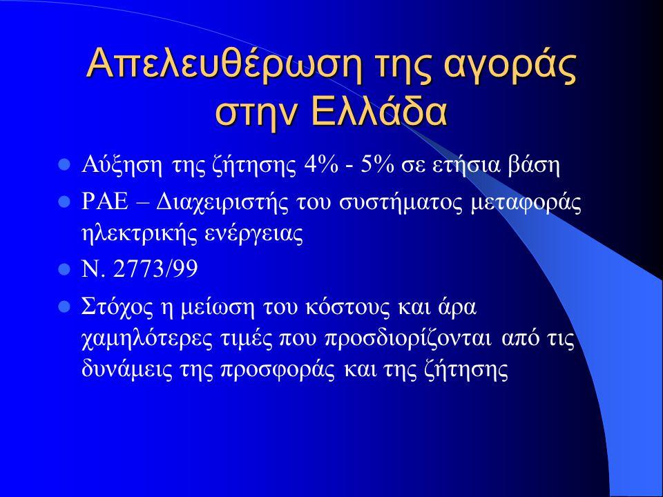 Απελευθέρωση της αγοράς στην Ελλάδα  Οδηγία 96/92 της Ε.Ε. – 19 Δεκεμβρίου 1996  19/02/2001  Σε πρώτη φάση απελευθέρωση για τους βιομηχανικούς πελά