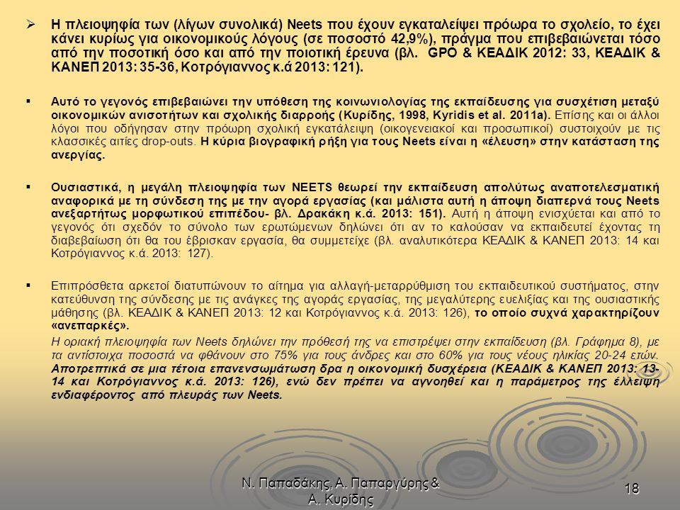 Ν. Παπαδάκης, Α. Παπαργύρης & Α. Κυρίδης 18   Η πλειοψηφία των (λίγων συνολικά) Neets που έχουν εγκαταλείψει πρόωρα το σχολείο, το έχει κάνει κυρίως