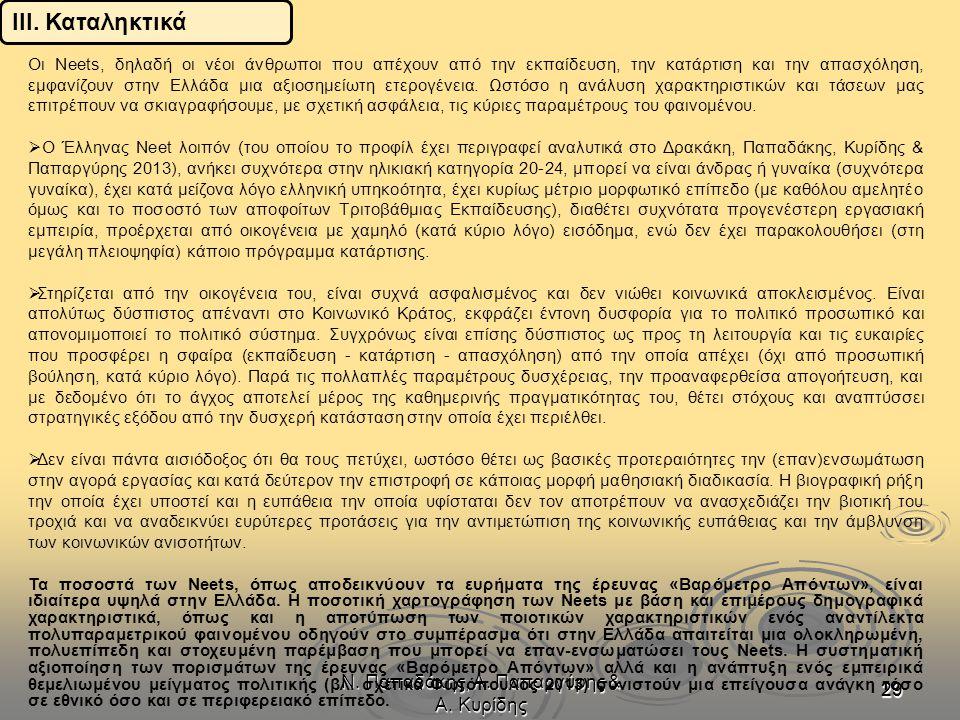 Ν. Παπαδάκης, Α. Παπαργύρης & Α. Κυρίδης 2929 Οι Neets, δηλαδή οι νέοι άνθρωποι που απέχουν από την εκπαίδευση, την κατάρτιση και την απασχόληση, εμφα