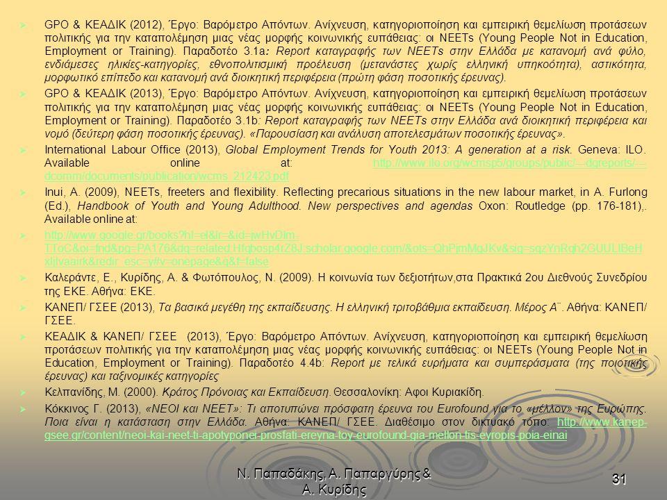 Ν. Παπαδάκης, Α. Παπαργύρης & Α. Κυρίδης 313131   GPO & ΚΕΑΔΙΚ (2012), Έργο: Βαρόμετρο Απόντων. Ανίχνευση, κατηγοριοποίηση και εμπειρική θεμελίωση π