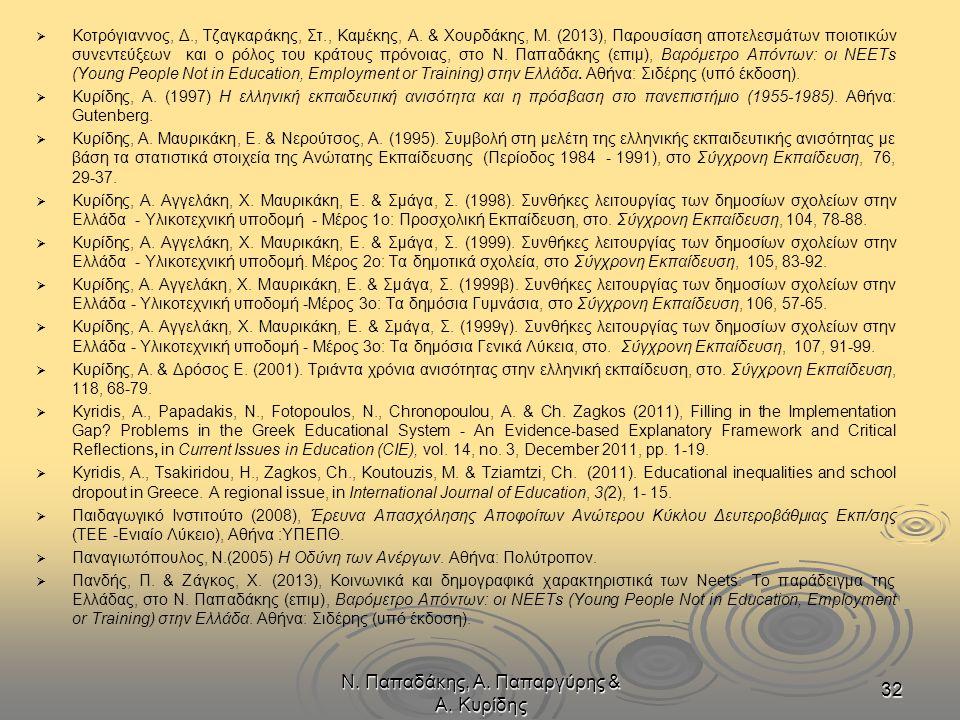 Ν. Παπαδάκης, Α. Παπαργύρης & Α. Κυρίδης 32   Κοτρόγιαννος, Δ., Τζαγκαράκης, Στ., Καμέκης, Α. & Χουρδάκης, Μ. (2013), Παρουσίαση αποτελεσμάτων ποιοτ