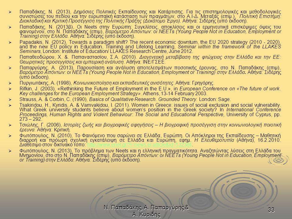 Ν. Παπαδάκης, Α. Παπαργύρης & Α. Κυρίδης 33   Παπαδάκης, Ν. (2013), Δημόσιες Πολιτικές Εκπαίδευσης και Κατάρτισης. Για τις επιστημολογικές και μεθοδ