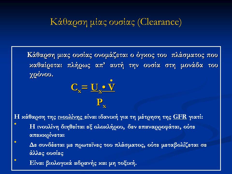 Κάθαρση μίας ουσίας (Clearance) Κάθαρση μιας ουσίας ονομάζεται ο όγκος του πλάσματος που καθαίρεται πλήρως απ' αυτή την ουσία στη μονάδα του χρόνου. Κ