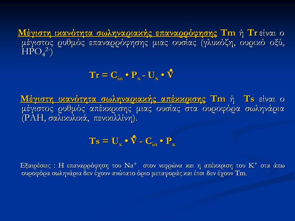 Mέγιστη ικανότητα σωληναριακής επαναρρόφησης Tm ή Tr είναι ο μέγιστος ρυθμός επαναρρόφησης μιας ουσίας (γλυκόζη, ουρικό οξύ, HPO 4 2- ) Mέγιστη ικανότ
