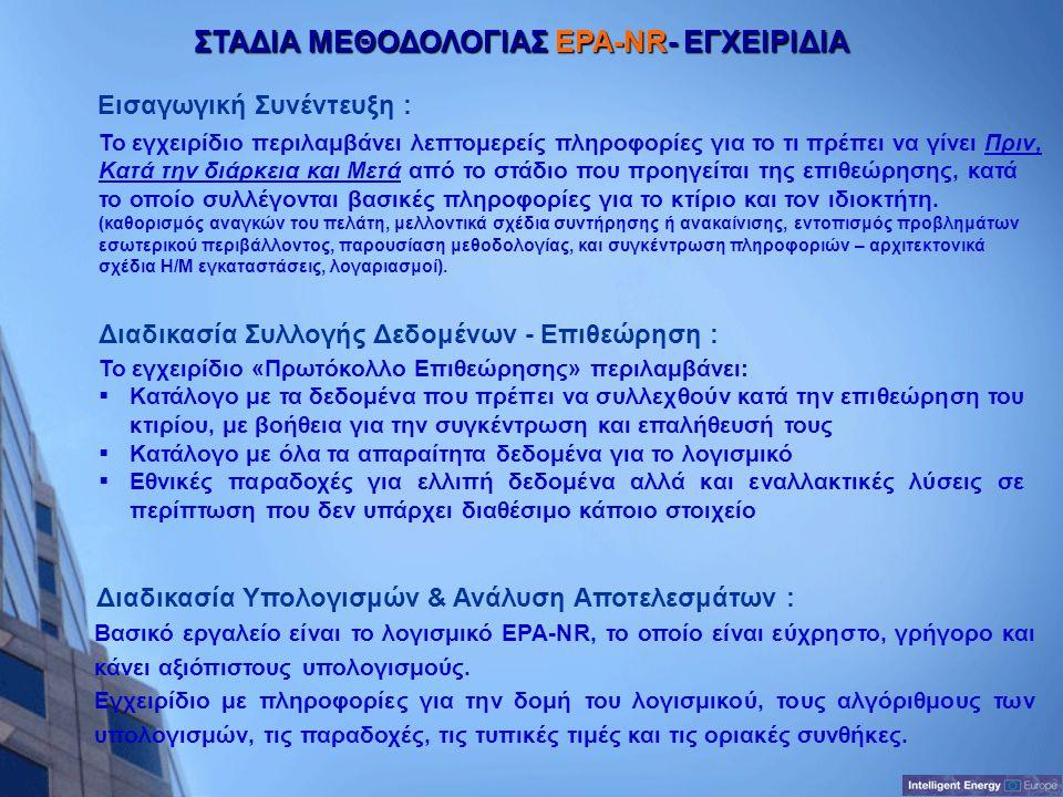 ΣΤΑΔΙΑ ΜΕΘΟΔΟΛΟΓΙΑΣ EPA-NR- ΕΓΧΕΙΡΙΔΙΑ Διαδικασία Υπολογισμών & Ανάλυση Αποτελεσμάτων : Διαδικασία Συλλογής Δεδομένων - Επιθεώρηση : Εισαγωγική Συνέντ
