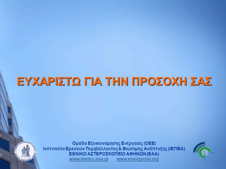 Ομάδα Εξοικονόμησης Ενέργειας (ΟΕΕ) Ινστιτούτο Ερευνών Περιβάλλοντος & Βιώσιμης Ανάπτυξης (ΙΕΠΒΑ) ΕΘΝΙΚΟ ΑΣΤΕΡΟΣΚΟΠΕΙΟ ΑΘΗΝΩΝ (ΕΑΑ) www.meteo.noa.grww