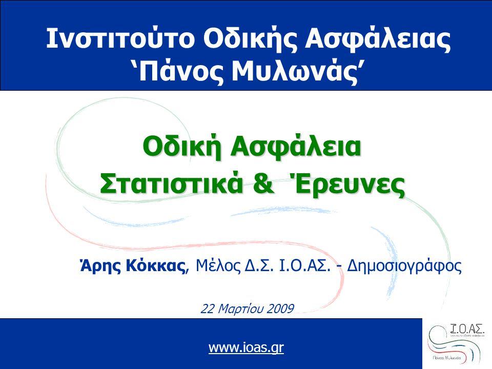 www.ioas.gr Οδική Ασφάλεια Στατιστικά & Έρευνες Άρης Κόκκας, Μέλος Δ.Σ. Ι.Ο.ΑΣ. - Δημοσιογράφος 22 Μαρτίου 2009 Ινστιτούτο Οδικής Ασφάλειας 'Πάνος Μυλ