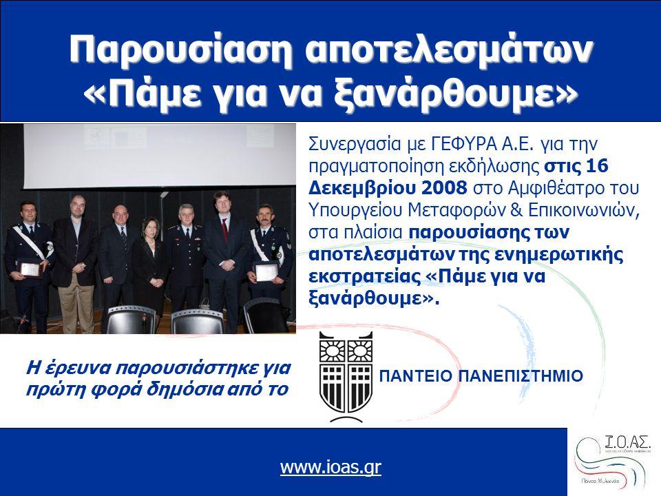 www.ioas.gr Παρουσίαση αποτελεσμάτων «Πάμε για να ξανάρθουμε» Συνεργασία με ΓΕΦΥΡΑ Α.Ε. για την πραγματοποίηση εκδήλωσης στις 16 Δεκεμβρίου 2008 στο Α