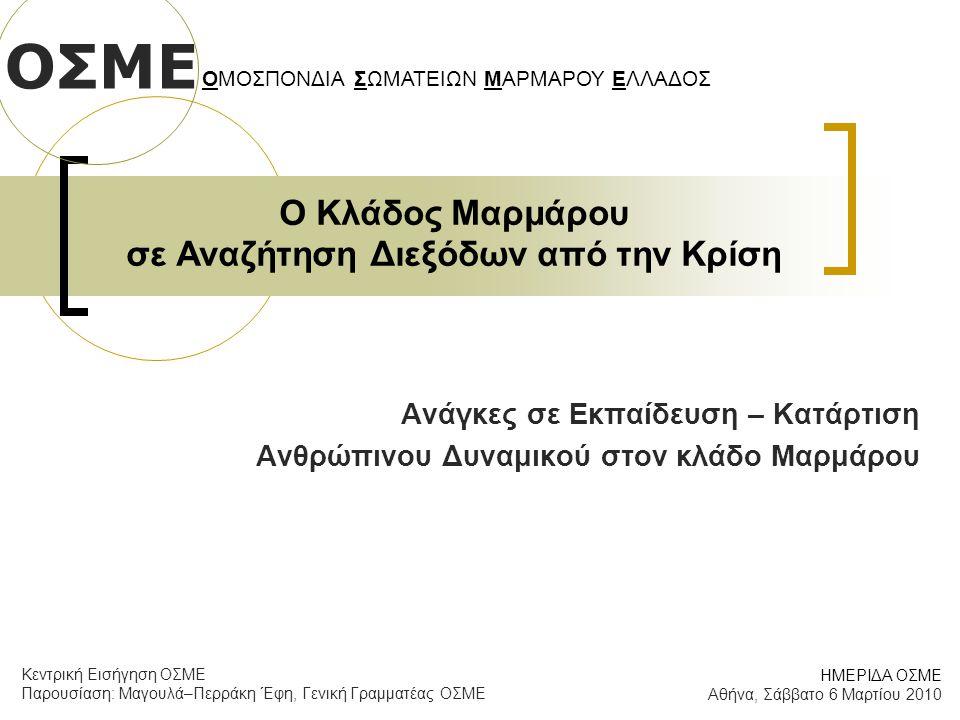 Ο Κλάδος Μαρμάρου σε Αναζήτηση Διεξόδων από την Κρίση Ανάγκες σε Εκπαίδευση – Κατάρτιση Ανθρώπινου Δυναμικού στον κλάδο Μαρμάρου ΟΣΜΕ ΟΜΟΣΠΟΝΔΙΑ ΣΩΜΑΤΕΙΩΝ ΜΑΡΜΑΡΟΥ ΕΛΛΑΔΟΣ ΗΜΕΡΙΔΑ ΟΣΜΕ Αθήνα, Σάββατο 6 Μαρτίου 2010 Κεντρική Εισήγηση ΟΣΜΕ Παρουσίαση: Μαγουλά–Περράκη Έφη, Γενική Γραμματέας ΟΣΜΕ