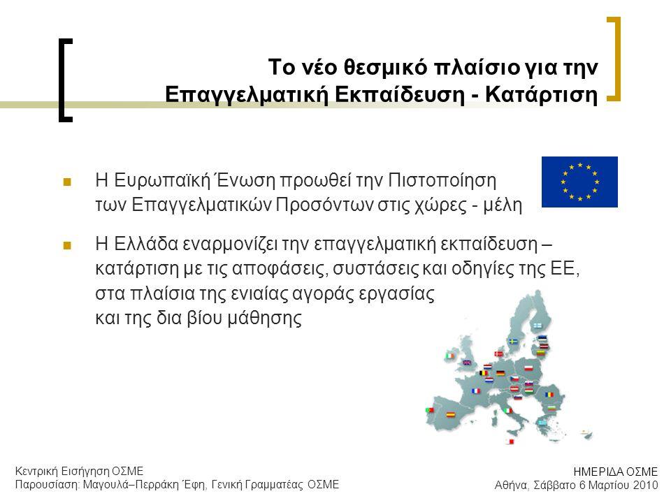 Το νέο θεσμικό πλαίσιο για την Επαγγελματική Εκπαίδευση - Κατάρτιση  Η Ευρωπαϊκή Ένωση προωθεί την Πιστοποίηση των Επαγγελματικών Προσόντων στις χώρες - μέλη  Η Ελλάδα εναρμονίζει την επαγγελματική εκπαίδευση – κατάρτιση με τις αποφάσεις, συστάσεις και οδηγίες της ΕΕ, στα πλαίσια της ενιαίας αγοράς εργασίας και της δια βίου μάθησης ΗΜΕΡΙΔΑ ΟΣΜΕ Αθήνα, Σάββατο 6 Μαρτίου 2010 Κεντρική Εισήγηση ΟΣΜΕ Παρουσίαση: Μαγουλά–Περράκη Έφη, Γενική Γραμματέας ΟΣΜΕ