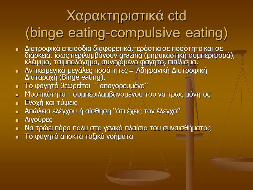 Χαρακτηριστικά ctd (binge eating-compulsive eating)  Διατροφικά επεισόδια διαφορετικά,τεράστια σε ποσότητα και σε διάρκεια, ίσως περιλαμβάνουν grazin