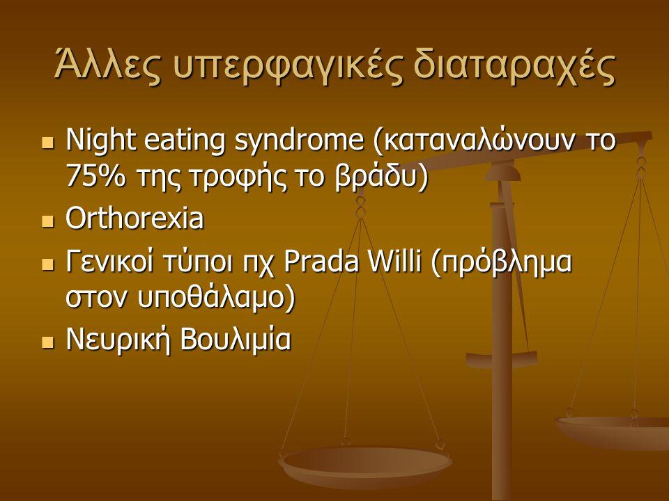 Άλλες υπερφαγικές διαταραχές  Night eating syndrome (καταναλώνουν το 75% της τροφής το βράδυ)  Orthorexia  Γενικοί τύποι πχ Prada Willi (πρόβλημα σ