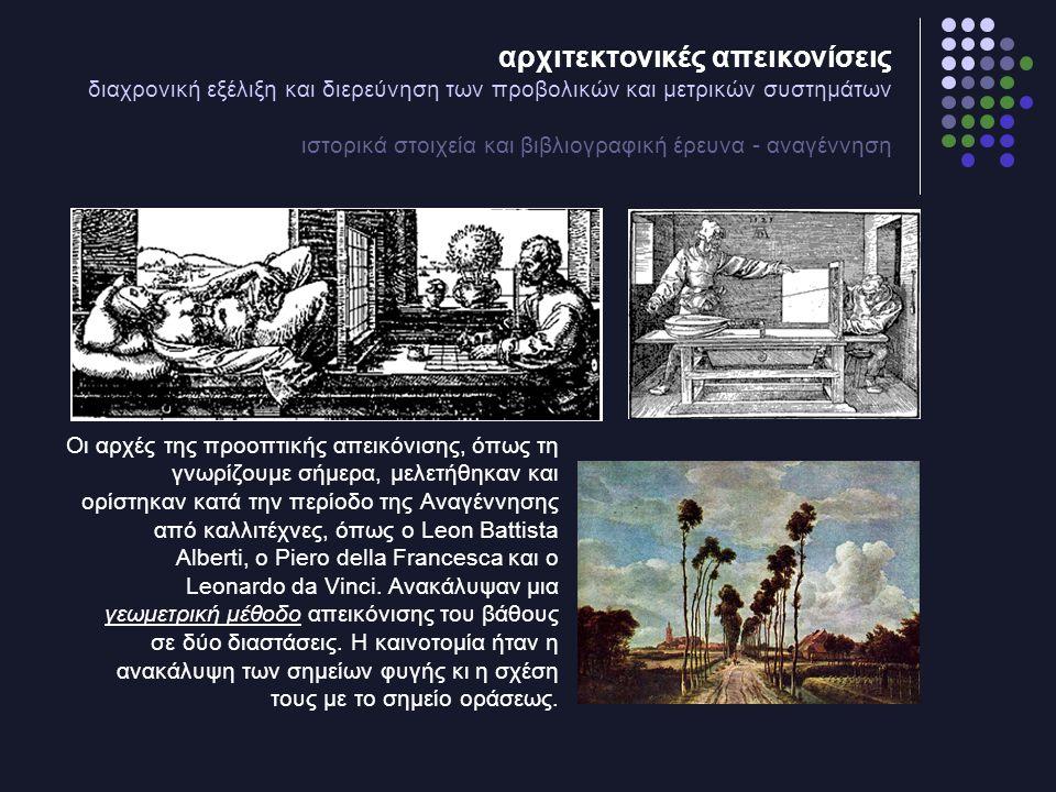 αρχιτεκτονικές απεικονίσεις διαχρονική εξέλιξη και διερεύνηση των προβολικών και μετρικών συστημάτων ιστορικά στοιχεία και βιβλιογραφική έρευνα - αναγέννηση Οι αρχές της προοπτικής απεικόνισης, όπως τη γνωρίζουμε σήμερα, μελετήθηκαν και ορίστηκαν κατά την περίοδο της Αναγέννησης από καλλιτέχνες, όπως ο Leon Battista Alberti, ο Piero della Francesca και ο Leonardo da Vinci.