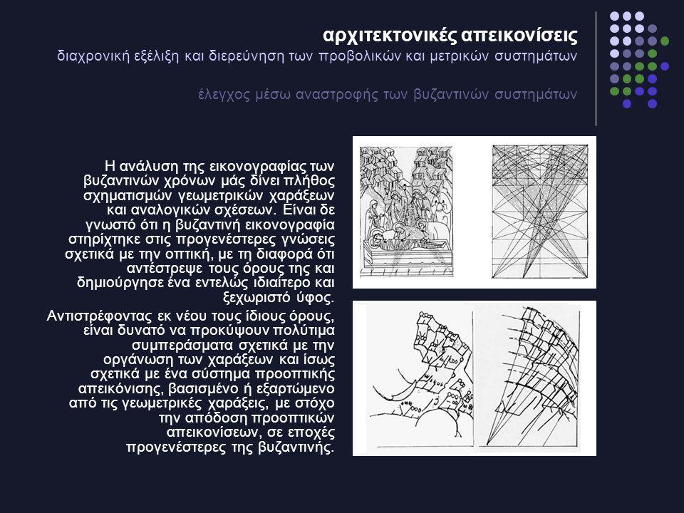αρχιτεκτονικές απεικονίσεις διαχρονική εξέλιξη και διερεύνηση των προβολικών και μετρικών συστημάτων έλεγχος μέσω αναστροφής των βυζαντινών συστημάτων Η ανάλυση της εικονογραφίας των βυζαντινών χρόνων μάς δίνει πλήθος σχηματισμών γεωμετρικών χαράξεων και αναλογικών σχέσεων.