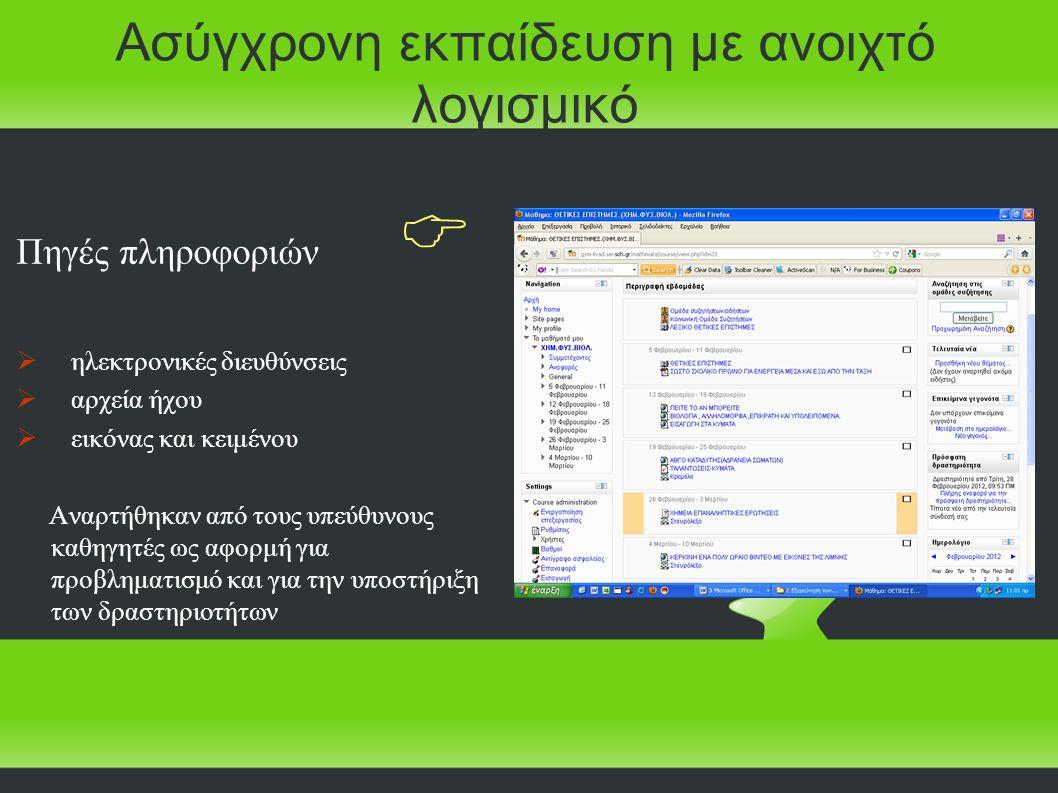 Πηγές πληροφοριών   ηλεκτρονικές διευθύνσεις  αρχεία ήχου  εικόνας και κειμένου Αναρτήθηκαν από τους υπεύθυνους καθηγητές ως αφορμή για προβληματισμό και για την υποστήριξη των δραστηριοτήτων