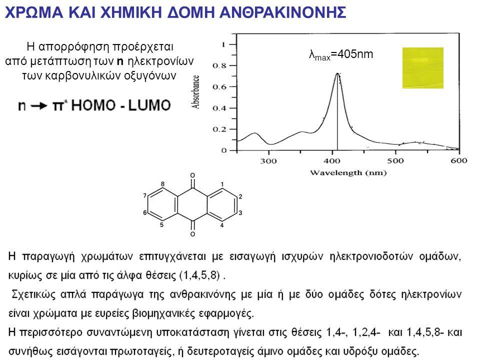 ΧΡΩΜΑ ΚΑΙ ΧΗΜΙΚΗ ΔΟΜΗ ΑΝΘΡΑΚΙΝΟΝΗΣ λ max =405nm Η απορρόφηση προέρχεται από μετάπτωση των n ηλεκτρονίων των καρβονυλικών οξυγόνων