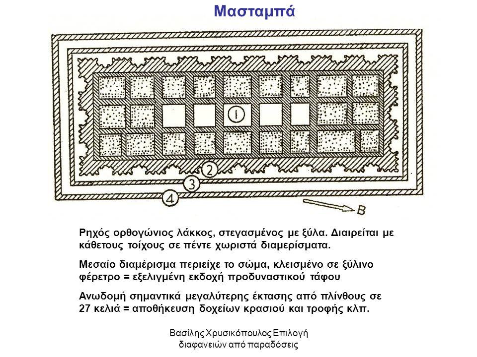 Βασίλης Χρυσικόπουλος Επιλογή διαφανειών από παραδόσεις Ρηχός ορθογώνιος λάκκος, στεγασμένος με ξύλα. Διαιρείται με κάθετους τοίχους σε πέντε χωριστά