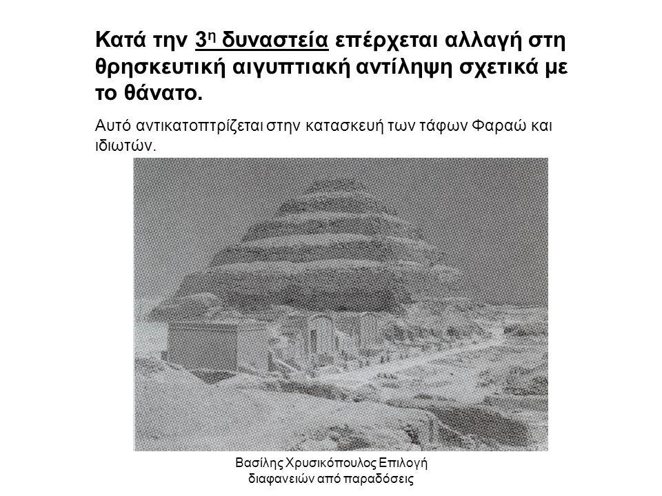 Βασίλης Χρυσικόπουλος Επιλογή διαφανειών από παραδόσεις Κατά την 3 η δυναστεία επέρχεται αλλαγή στη θρησκευτική αιγυπτιακή αντίληψη σχετικά με το θάνα