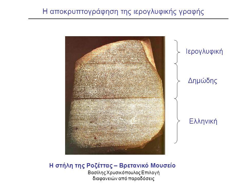 Βασίλης Χρυσικόπουλος Επιλογή διαφανειών από παραδόσεις Η στήλη της Ροζέττας – Βρετανικό Μουσείο, Λονδίνο Η αποκρυπτογράφηση της ιερογλυφικής γραφής Ε