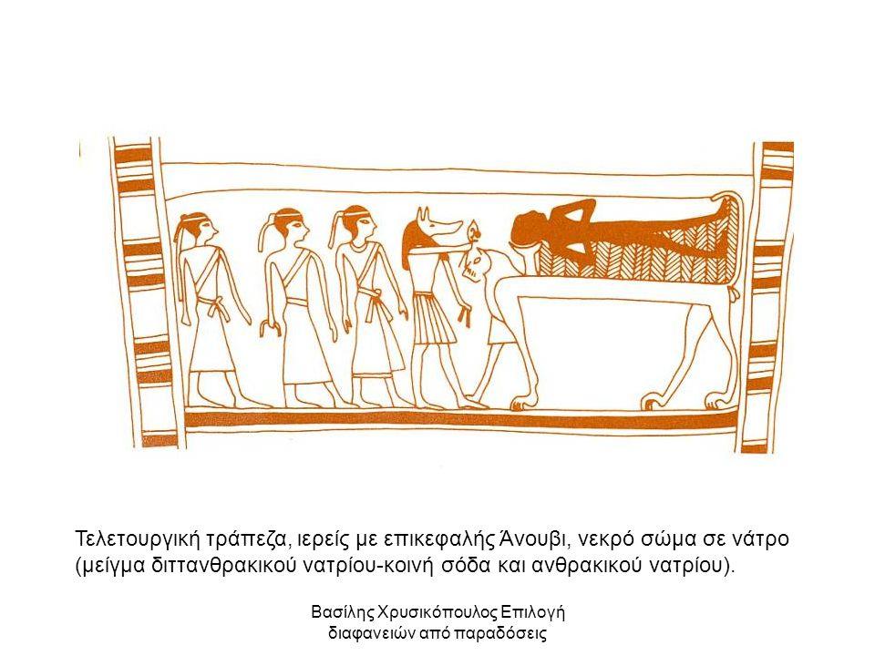 Βασίλης Χρυσικόπουλος Επιλογή διαφανειών από παραδόσεις Τελετουργική τράπεζα, ιερείς με επικεφαλής Άνουβι, νεκρό σώμα σε νάτρο (μείγμα διττανθρακικού