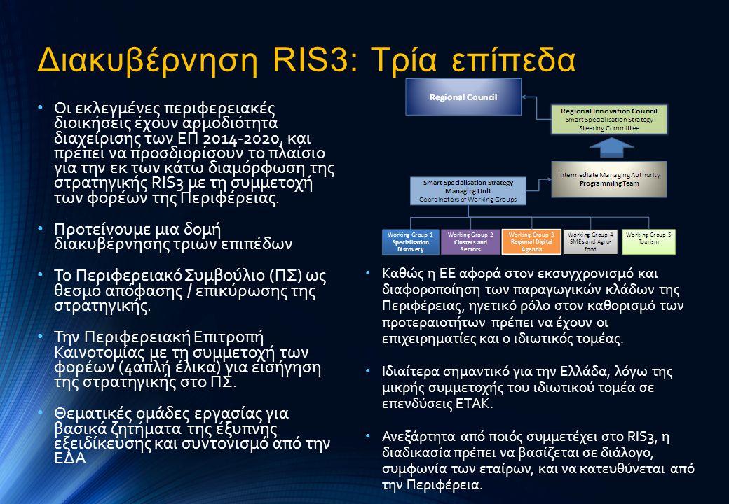 Διακυβέρνηση RIS3: Τρία επίπεδα • Οι εκλεγμένες περιφερειακές διοικήσεις έχουν αρμοδιότητα διαχείρισης των ΕΠ 2014-2020, και πρέπει να προσδιορίσουν τ