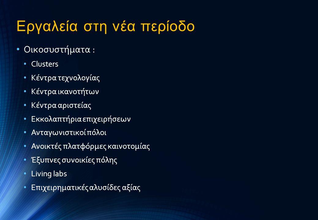 Εργαλεία στη νέα περίοδο • Οικοσυστήματα : • Clusters • Κέντρα τεχνολογίας • Κέντρα ικανοτήτων • Κέντρα αριστείας • Εκκολαπτήρια επιχειρήσεων • Ανταγω