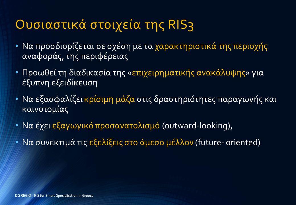 Ουσιαστικά στοιχεία της RIS3 • Να προσδιορίζεται σε σχέση με τα χαρακτηριστικά της περιοχής αναφοράς, της περιφέρειας • Προωθεί τη διαδικασία της «επι