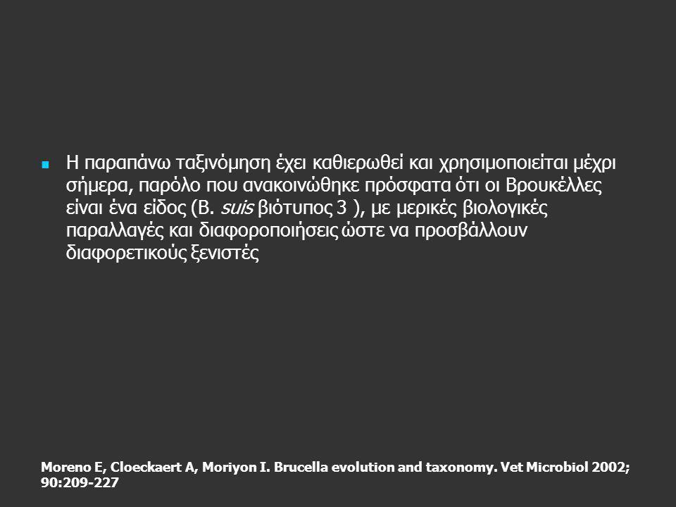 Moreno E, Cloeckaert A, Moriyon I. Brucella evolution and taxonomy. Vet Microbiol 2002; 90:209-227   Η παραπάνω ταξινόμηση έχει καθιερωθεί και χρησι