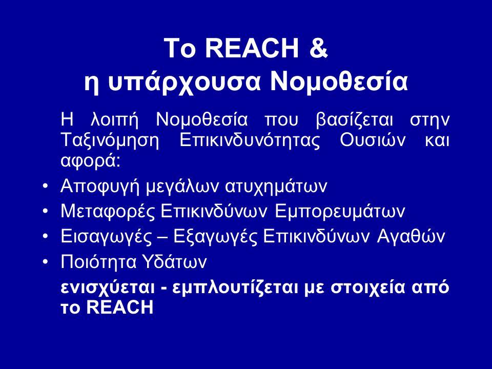 To REACH & η υπάρχουσα Νομοθεσία Η λοιπή Νομοθεσία που βασίζεται στην Ταξινόμηση Επικινδυνότητας Ουσιών και αφορά: •Αποφυγή μεγάλων ατυχημάτων •Μεταφο