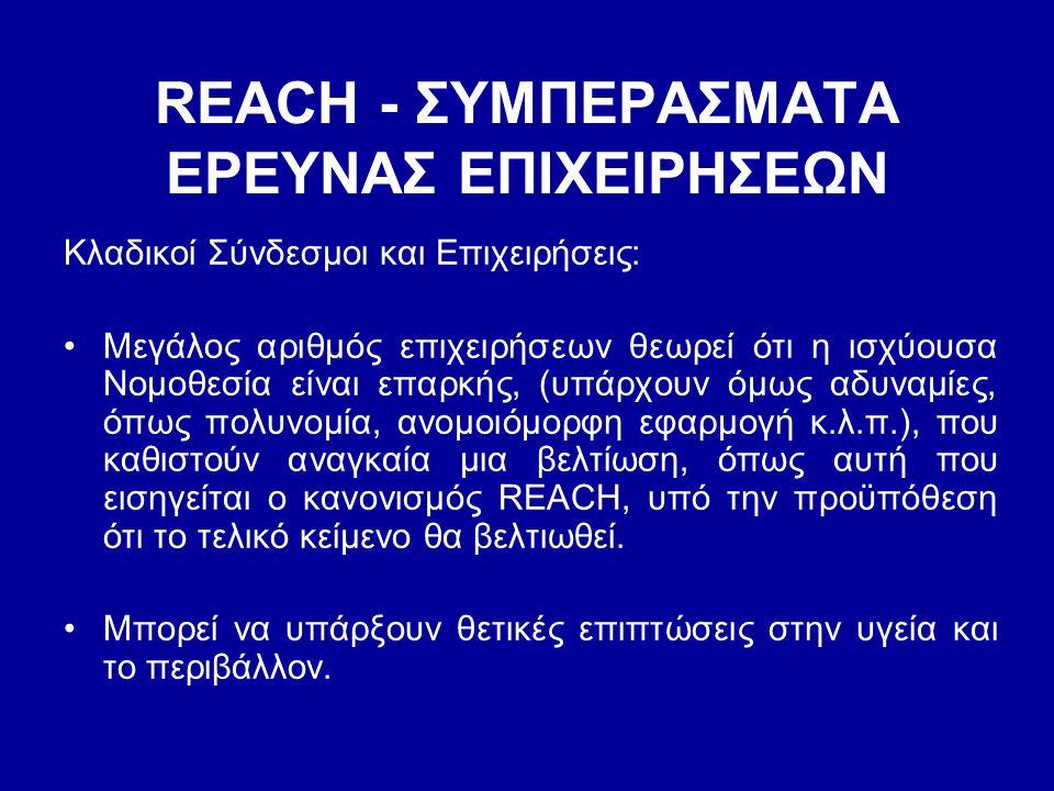 REACH - ΣΥΜΠΕΡΑΣΜΑΤΑ EΡΕΥΝΑΣ ΕΠΙΧΕΙΡΗΣΕΩΝ Κλαδικοί Σύνδεσμοι και Επιχειρήσεις: •Μεγάλος αριθμός επιχειρήσεων θεωρεί ότι η ισχύουσα Νομοθεσία είναι επα