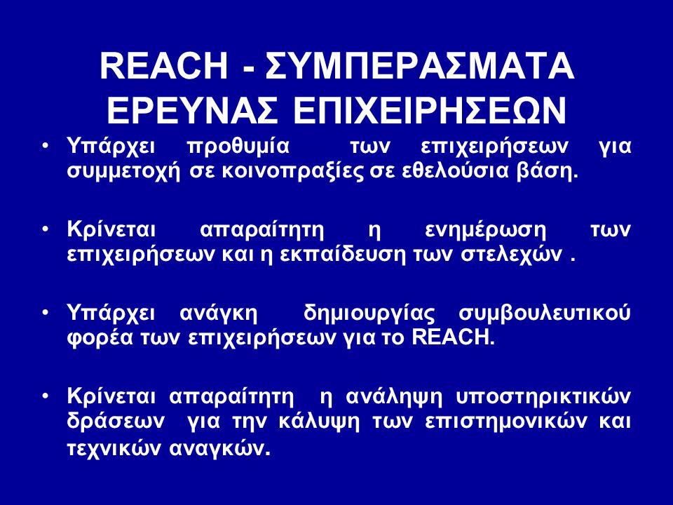 REACH - ΣΥΜΠΕΡΑΣΜΑΤΑ ΕΡΕΥΝΑΣ ΕΠΙΧΕΙΡΗΣΕΩΝ •Υπάρχει προθυμία των επιχειρήσεων για συμμετοχή σε κοινοπραξίες σε εθελούσια βάση. •Κρίνεται απαραίτητη η ε