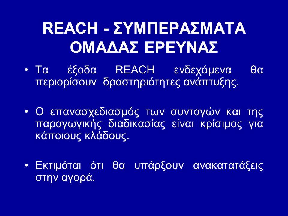 REACH - ΣΥΜΠΕΡΑΣΜΑΤΑ ΟΜΑΔΑΣ ΕΡΕΥΝΑΣ •Τα έξοδα REACH ενδεχόμενα θα περιορίσουν δραστηριότητες ανάπτυξης. •Ο επανασχεδιασμός των συνταγών και της παραγω