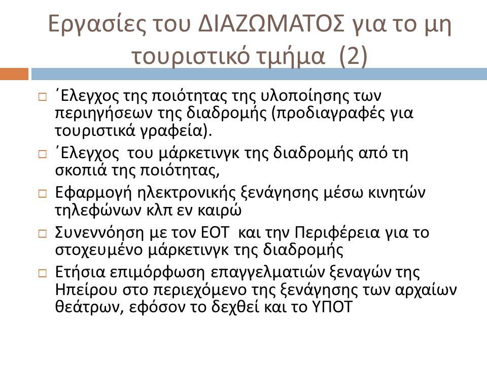 Εργασίες του ΔΙΑΖΩΜΑΤΟΣ για το μη τουριστικό τμήμα (2)  ΄Ελεγχος της ποιότητας της υλοποίησης των περιηγήσεων της διαδρομής ( προδιαγραφές για τουρισ