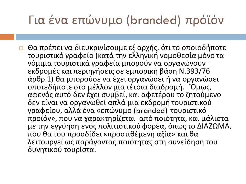 Για ένα επώνυμο (branded) πρόϊόν  Θα πρέπει να διευκρινίσουμε εξ αρχής, ότι το οποιοδήποτε τουριστικό γραφείο ( κατά την ελληνική νομοθεσία μόνο τα ν