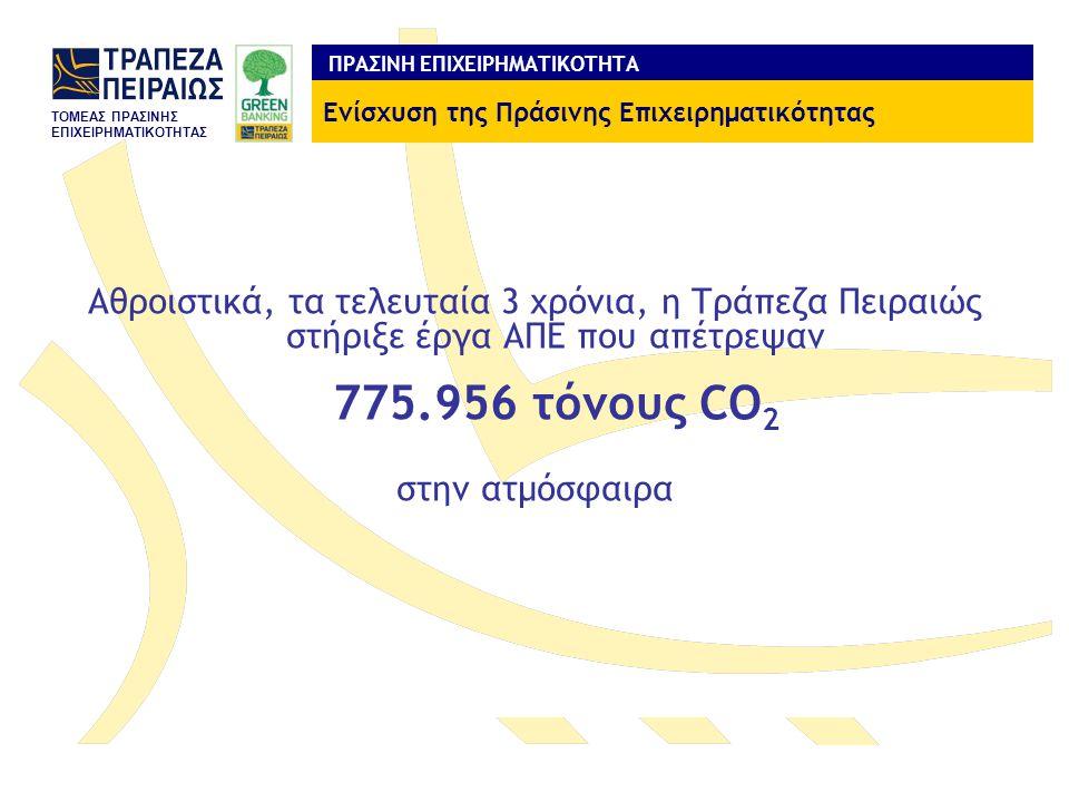 TOMEAΣ ΠΡΑΣΙΝΗΣ ΕΠΙΧΕΙΡΗΜΑΤΙΚΟΤΗΤΑΣ ΠΡΑΣΙΝΗ ΕΠΙΧΕΙΡΗΜΑΤΙΚΟΤΗΤΑ Αθροιστικά, τα τελευταία 3 χρόνια, η Τράπεζα Πειραιώς στήριξε έργα ΑΠΕ που απέτρεψαν 775.956 τόνους CO 2 στην ατμόσφαιρα Ενίσχυση της Πράσινης Επιχειρηματικότητας