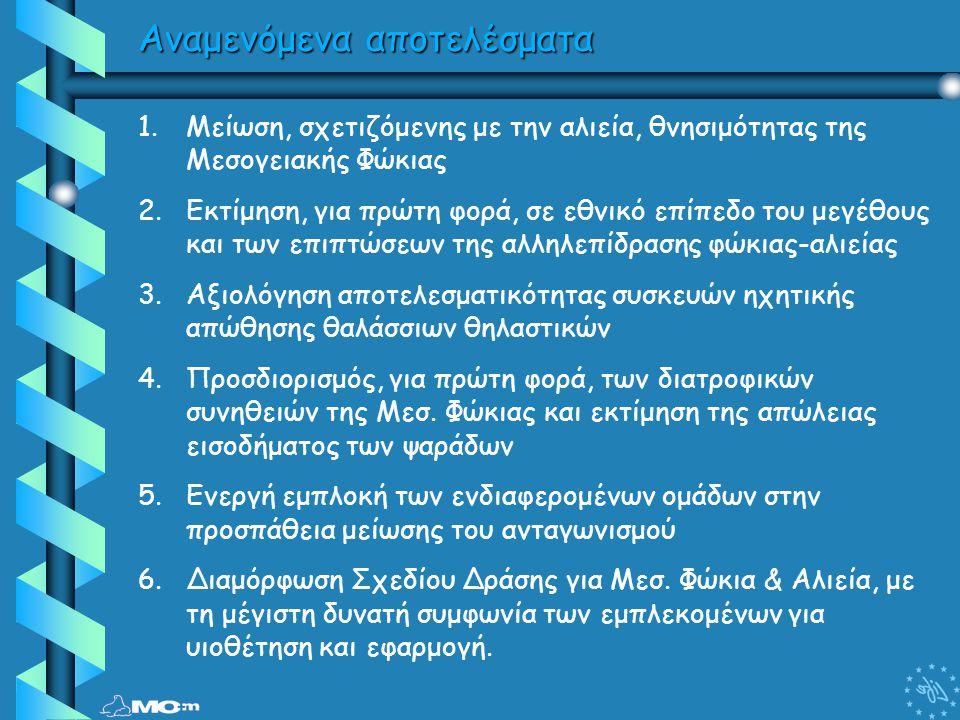 1.Μείωση, σχετιζόμενης με την αλιεία, θνησιμότητας της Μεσογειακής Φώκιας 2.Εκτίμηση, για πρώτη φορά, σε εθνικό επίπεδο του μεγέθους και των επιπτώσεω