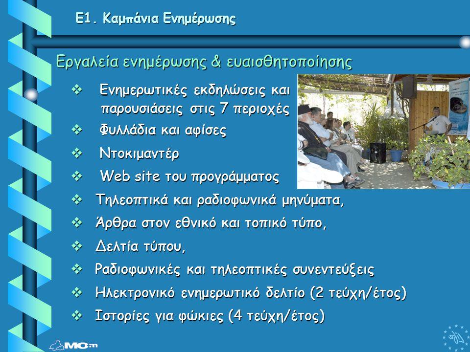 E1. Καμπάνια Ενημέρωσης Εργαλεία ενημέρωσης & ευαισθητοποίησης  Ενημερωτικές εκδηλώσεις και παρουσιάσεις στις 7 περιοχές παρουσιάσεις στις 7 περιοχές