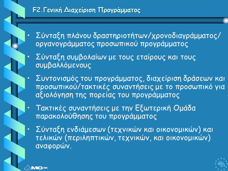 F2.Γενική Διαχείριση Προγράμματος • •Σύνταξη πλάνου δραστηριοτήτων/χρονοδιαγράμματος/ οργανογράμματος προσωπικού προγράμματος • •Σύνταξη συμβολαίων με