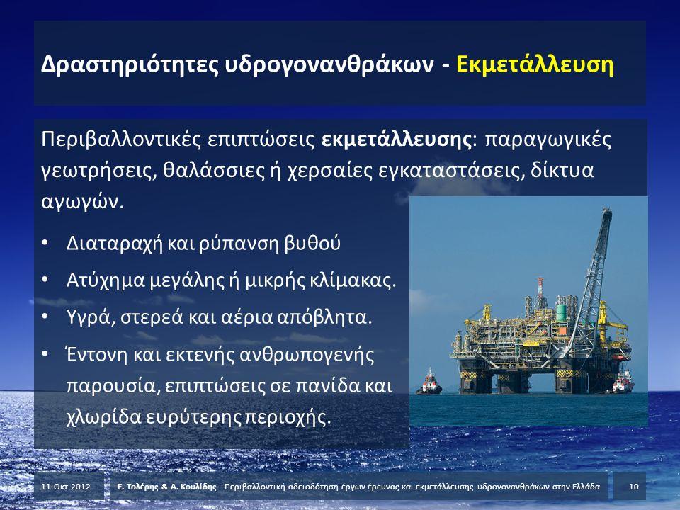 Δραστηριότητες υδρογονανθράκων - Εκμετάλλευση Περιβαλλοντικές επιπτώσεις εκμετάλλευσης: παραγωγικές γεωτρήσεις, θαλάσσιες ή χερσαίες εγκαταστάσεις, δί