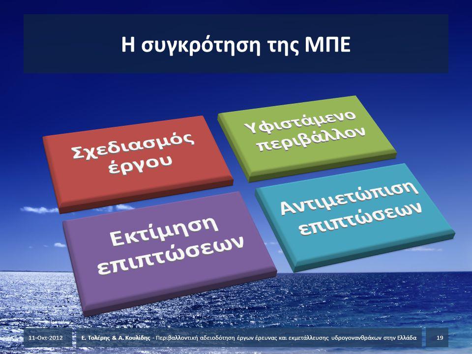 Η συγκρότηση της ΜΠΕ 11-Οκτ-2012Ε. Τολέρης & Α. Κουλίδης - Περιβαλλοντική αδειοδότηση έργων έρευνας και εκμετάλλευσης υδρογονανθράκων στην Ελλάδα19