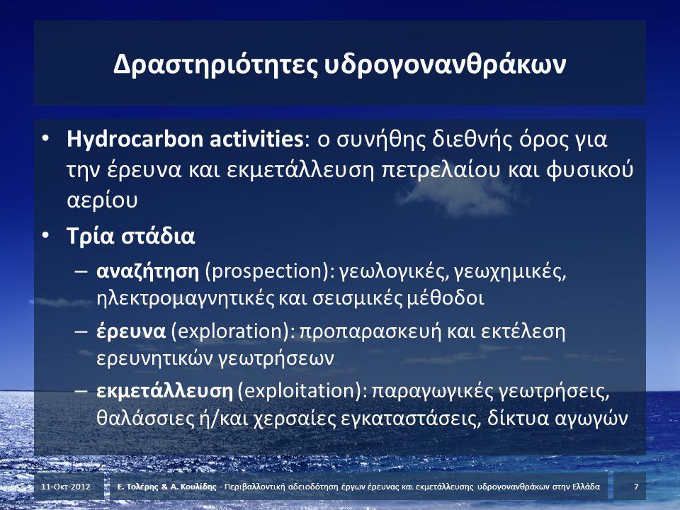 Δραστηριότητες υδρογονανθράκων • Hydrocarbon activities: ο συνήθης διεθνής όρος για την έρευνα και εκμετάλλευση πετρελαίου και φυσικού αερίου • Τρία σ