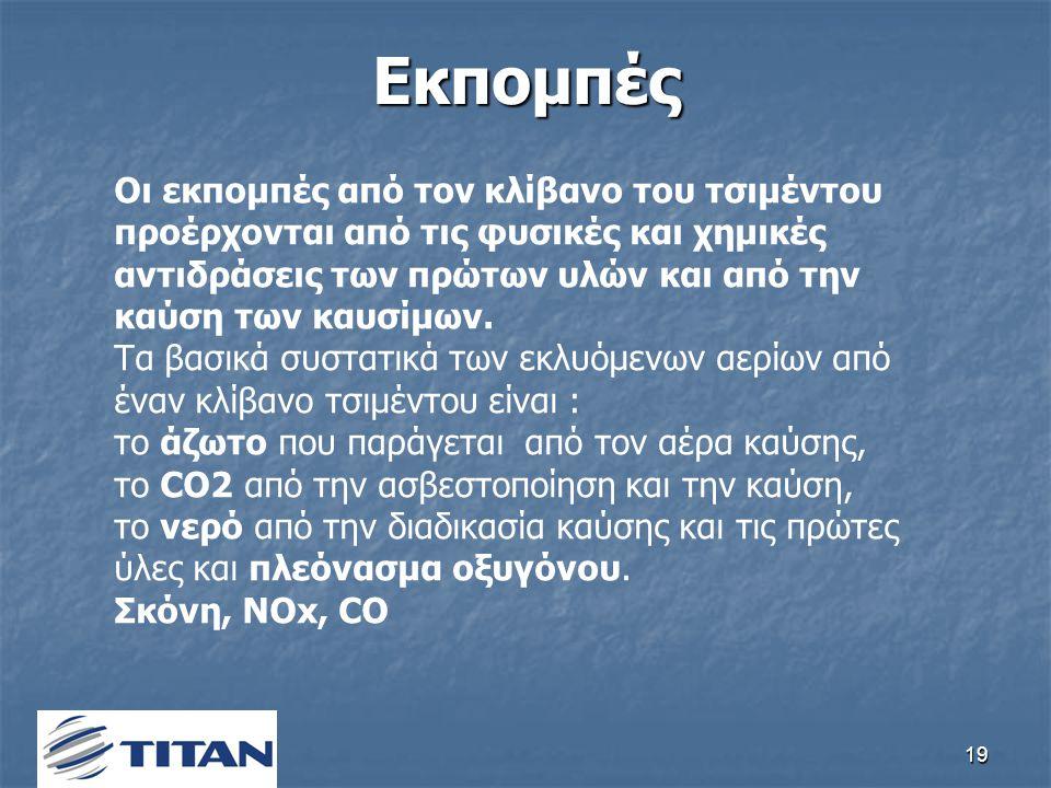19Εκπομπές Οι εκπομπές από τον κλίβανο του τσιμέντου προέρχονται από τις φυσικές και χημικές αντιδράσεις των πρώτων υλών και από την καύση των καυσίμων.
