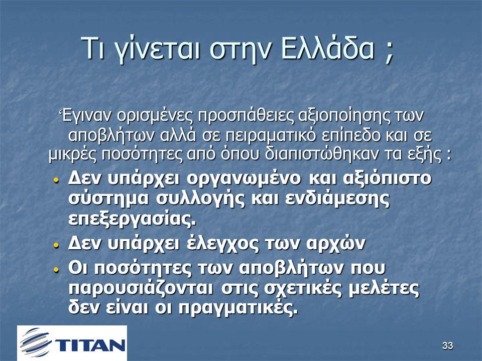 33 Τι γίνεται στην Ελλάδα ; ' Eγιναν ορισμένες προσπάθειες αξιοποίησης των αποβλήτων αλλά σε πειραματικό επίπεδο και σε μικρές ποσότητες από όπου διαπιστώθηκαν τα εξής :  Δεν υπάρχει οργανωμένο και αξιόπιστο σύστημα συλλογής και ενδιάμεσης επεξεργασίας.
