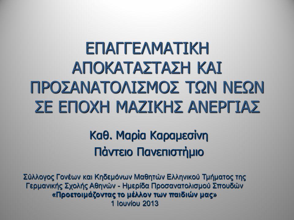 ΤΑ ΣΗΜΕΡΙΝΑ ΔΕΔΟΜΕΝΑ (Ι)  Εφιαλτικές διαστάσεις ανεργίας νέων 64,2% (15-24) 36,2% (25-34) Φεβρουάριος 2013 64,2% (15-24) 36,2% (25-34) Φεβρουάριος 2013  Ακύρωση του μέλλοντος και της ελπίδας πολλών γενεών νέων ανθρώπων στην Ελλάδα  Πολιτική δημοσιονομικής εξυγίανσης από τις πιο σκληρές στον ευρωπαϊκό χώρο - δεν υπολογίζει το κοινωνικό κόστος  Η υψηλή ανεργία όχι μόνο ως παράπλευρη «απώλεια» του προγράμματος προσαρμογής.