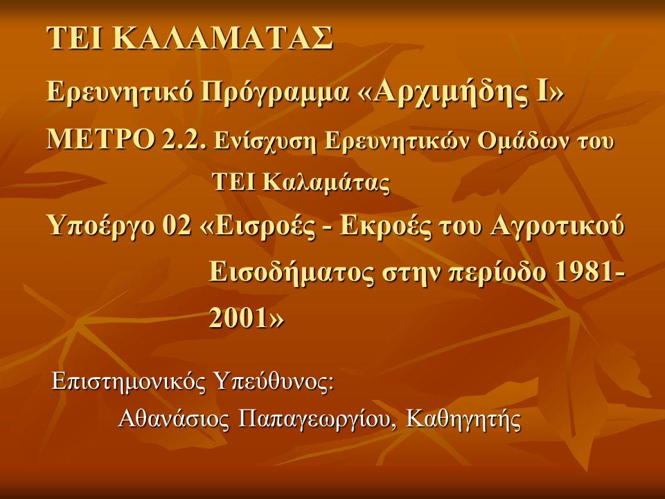 ΤΕΙ ΚΑΛΑΜΑΤΑΣ Ερευνητικό Πρόγραμμα « Αρχιμήδης Ι » ΜΕΤΡΟ 2.2.