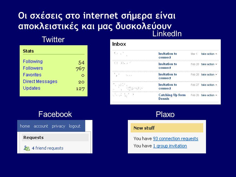 Οι σχέσεις στο internet σήμερα είναι αποκλειστικές και μας δυσκολεύουν Twitter Facebook LinkedIn Plaxo