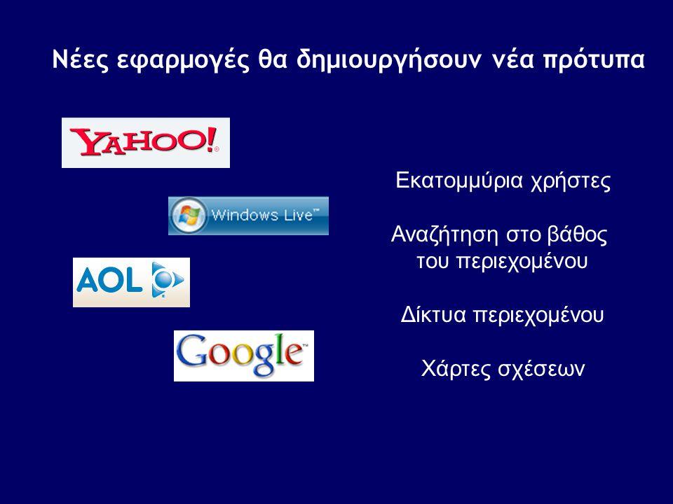 Νέες εφαρμογές θα δημιουργήσουν νέα πρότυπα Εκατομμύρια χρήστες Αναζήτηση στο βάθος του περιεχομένου Δίκτυα περιεχομένου Χάρτες σχέσεων